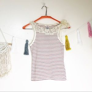 Anthropologie | Off White and Red Stripe Top sz S